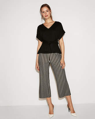 Express V-Neck Tie Waist Rolled Sleeve Blouse