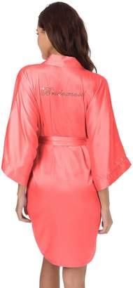 SIORO Robe Women's Satin Robes Short Kimonos Robe Bridesmaid Wedding Party Robes Lightweight Sleepwear Gown Soft Loungewear Short Coral Pink S