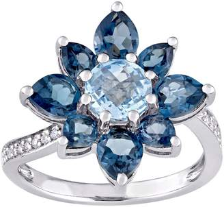Laura Ashley Jewelry Sterling 3.15 cttw Blue Topaz & Diamond Ring