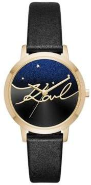 Karl Lagerfeld Camille Black Leather Strap Watch