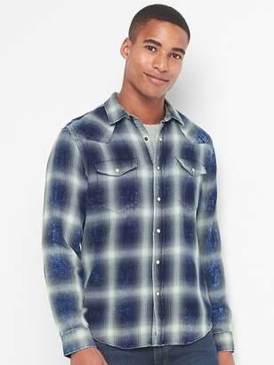 Gap Plaid denim western slim fit shirt