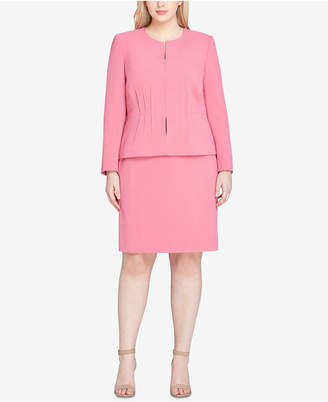 Tahari ASL Plus Size Collarless Peplum-Waist Skirt Suit