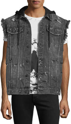 PRPS Denim Vest Jacket with Hoodie Combo