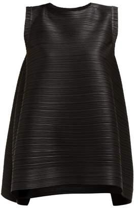 Pleats Please Issey Miyake Pleated Slit Side Tunic Top - Womens - Black