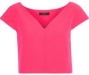 Milly Sophia Cropped Stretch-Cady Top