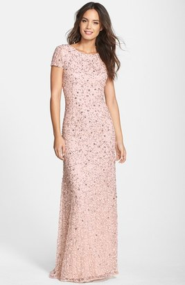 Women's Adrianna Papell Short Sleeve Sequin Mesh Gown $278 thestylecure.com