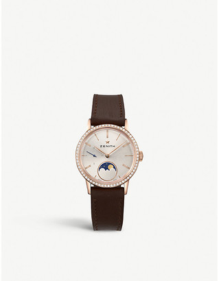 Zenith 22.2330.692/01.C713 Elite Lady moonphase alligator-leather and diamond watch