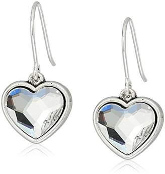Alex and Ani Womens Crystal Heart Hook Drop Earrings