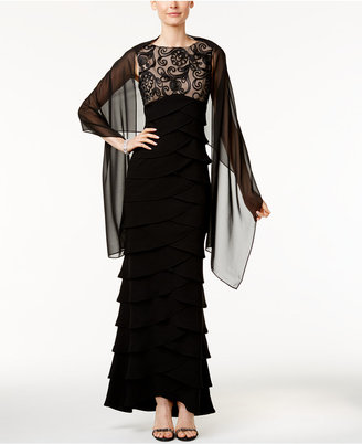 Jessica Howard Illusion Tiered Empire Gown and Shawl $139 thestylecure.com