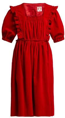 Shrimps - Malacky Ruffle Cotton Corduroy Babydoll Dress - Womens - Red