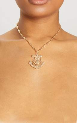 PrettyLittleThing Gold Crucifix Anchor Pendant Necklace