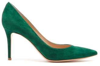 Gianvito Rossi Gianvito 85 Point Toe Suede Pumps - Womens - Dark Green