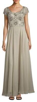 J Kara Short Sleeve Sage Gown