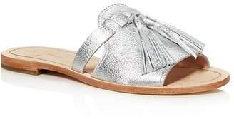 Kate Spade Women's Coby Metallic Leather Tassel Slide Sandals