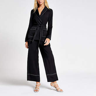 River Island Black contrast stitch belted utility blazer