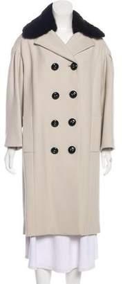 Dolce & Gabbana Mink-Trimmed Wool Coat