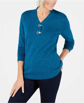 Karen Scott Petite Cotton Marled Henley Sweater