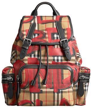 Burberry Graffiti-Print Medium Rucksack Backpack