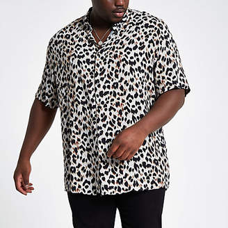 River Island Big and Tall grey leopard print shirt