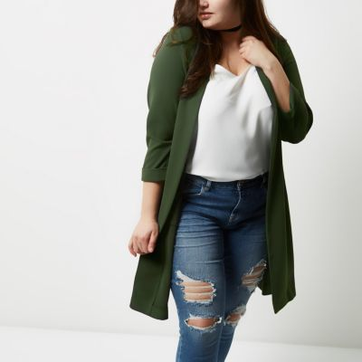 River IslandRiver Island Womens Plus khaki green split back duster coat