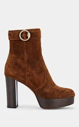 Gianvito Rossi Women's Suede Platform Ankle Boots - Med. brown