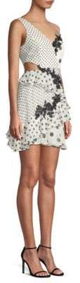 BCBGMAXAZRIA Polka Dot Asymmetrical Ruffle Dress