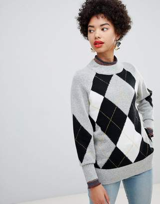 Warehouse crew neck sweater in argyll check