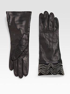 Portolano Zipper-Ruffled Gloves