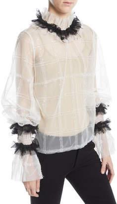 Anais Jourden High-Neck Ruffle Shimmer Check Top