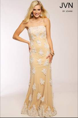 Jovani Embroidered Strapless Gown
