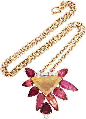Irene Neuwirth One-Of-A-Kind 18K Gold Fire Opal With Pink Tourmaline Necklace