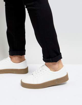 Asos DESIGN sneakers in white with gum sole