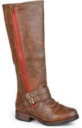 Brinley Co. Womens Knee-High Side-Zipper Buckle Riding Boot