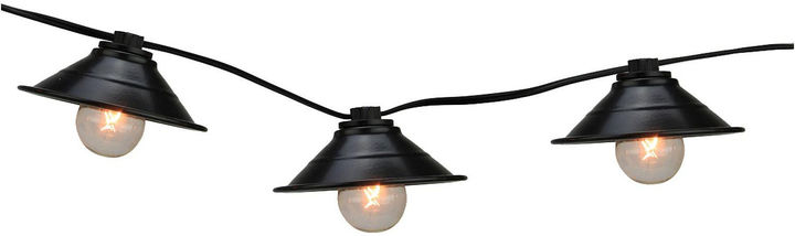 Asstd National Brand Set Of 10 Black Metal Pendant Lantern Patio Lights with Black Wire