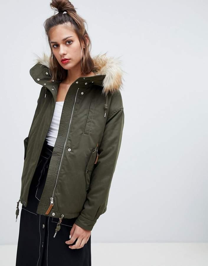 waist length fur hood parka in khaki