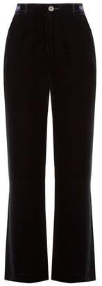 MiH Jeans Welbeck High Rise Wide Leg Velvet Trousers - Womens - Navy