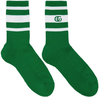 Gucci Green & White Logo Running Socks $105 thestylecure.com