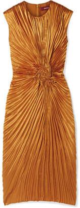 Sies Marjan - Nicole Pleated Satin Midi Dress - Orange