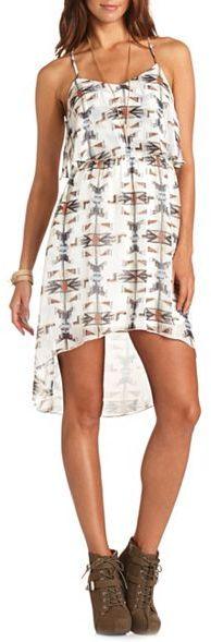Charlotte Russe Printed Ruffle-Bust Hi-Low Dress