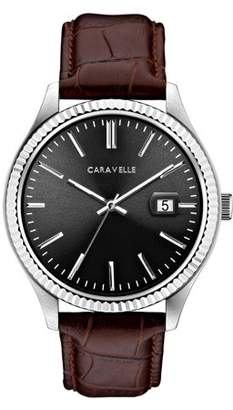 Bulova CARAVELLE Designed by Caravelle Men's Brown Leather Strap Dress Watch 41mm