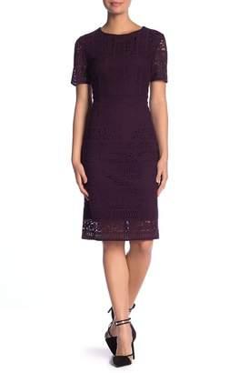 Tahari Lace Short Sleeve Sheath Dress