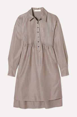 See by Chloe Pintucked Houndstooth Tweed Dress - Brown