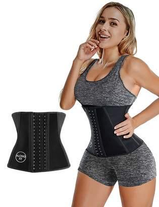 e1f1592766 ALONG FIT Women s Latex Waist Trainer Waist Cincher Corset Sport Girdle  Body Shaper (S-