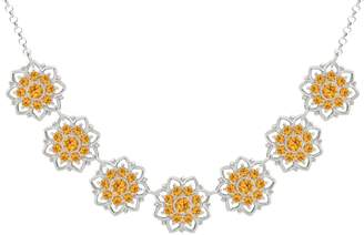 Swarovski Lucia Costin Silver, Yellow Crystal Necklace with Lovely Flowers