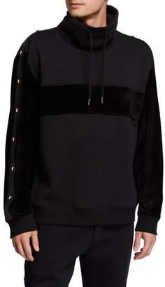 Versace Men's Velour-Trim Mock-Neck Pullover Sweater