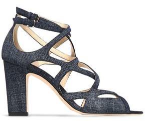 Jimmy Choo Dillan 85 Cutout Denim Sandals