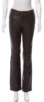 DKNY Leather Mid-Rise Pants