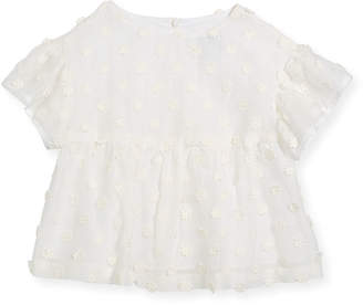 Milly Minis Lindy Daisy-Embroidery Blouse, Size 4-7