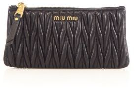 Miu MiuMiu Miu Matelasse Leather Zip Pouch