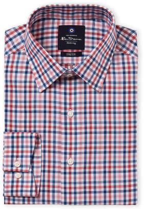 Ben Sherman Pink & Blue Stretch Collar Dress Shirt